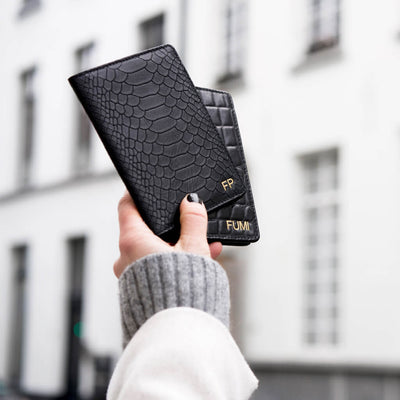 Personalized leather passport holder black python snake print with monogram initials DAPHNY RAES