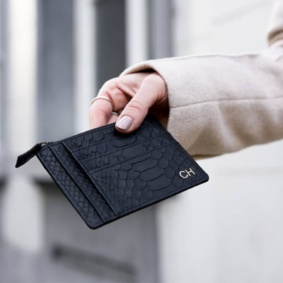 Slim black snake leather card wallet with initials monogram