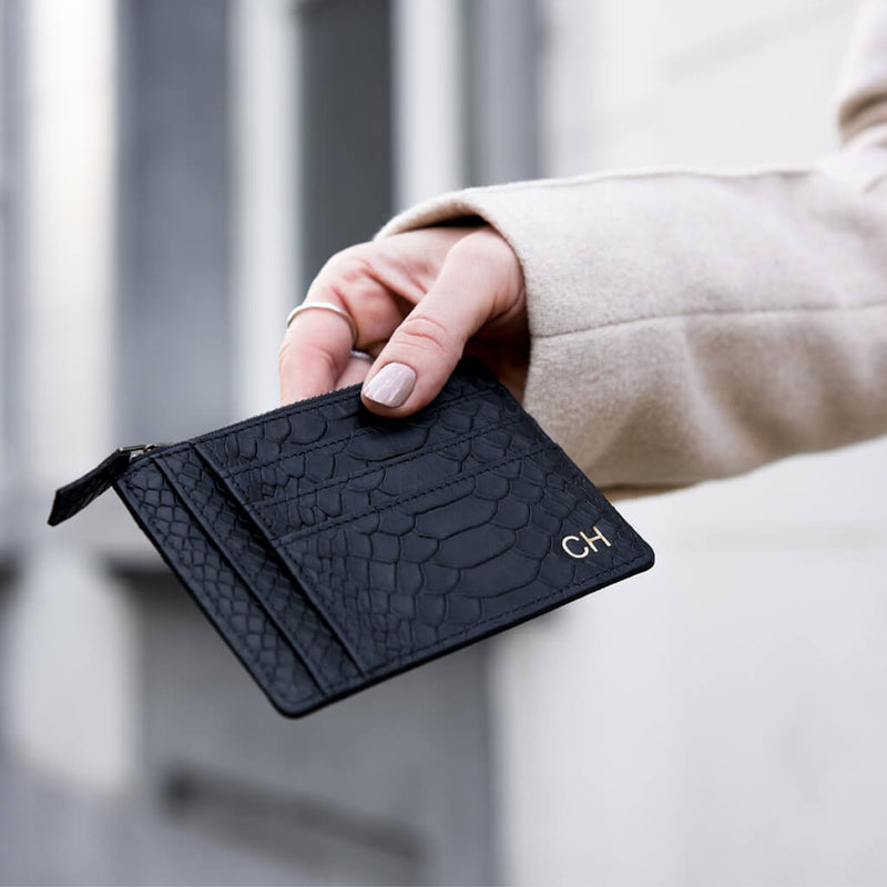 Wallet 'Jack' black python | antique gold