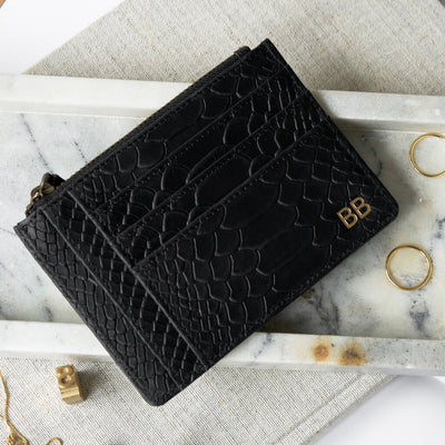 Personalized black leather credit card holder with initials DAPHNY RAES
