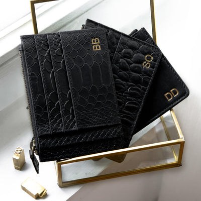 Slim personalized black leather wallets with monogram personalization
