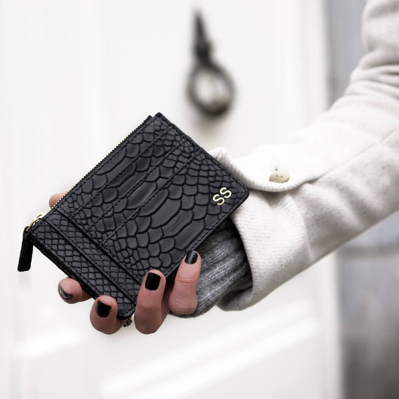 Small black python print leather women's zipper wallet with multiple card slots DAPHNY RAES