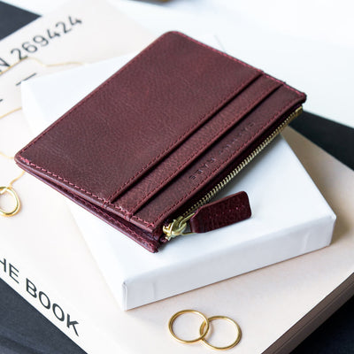 Personalized burgundy leather card holder wallet DAPHNY RAES