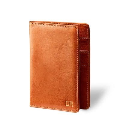 Personalized cognac leather passport holder with monogram DAPHNY RAES
