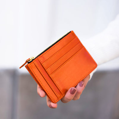 Slim orange leather women's zipper card holder with multiple card slots DAPHNY RAES