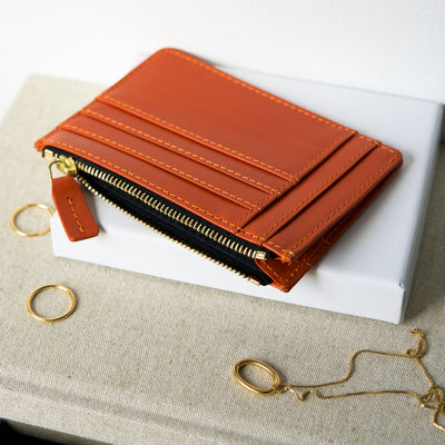 Personalized orange leather women's zipper card holder with multiple card slots DAPHNY RAES