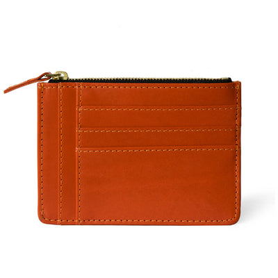 Slim orange leather women's zipper wallet with multiple card slots DAPHNY RAES