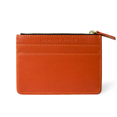 Slim orange vegetable tanned leather women's zipper wallet with multiple card slots DAPHNY RAES