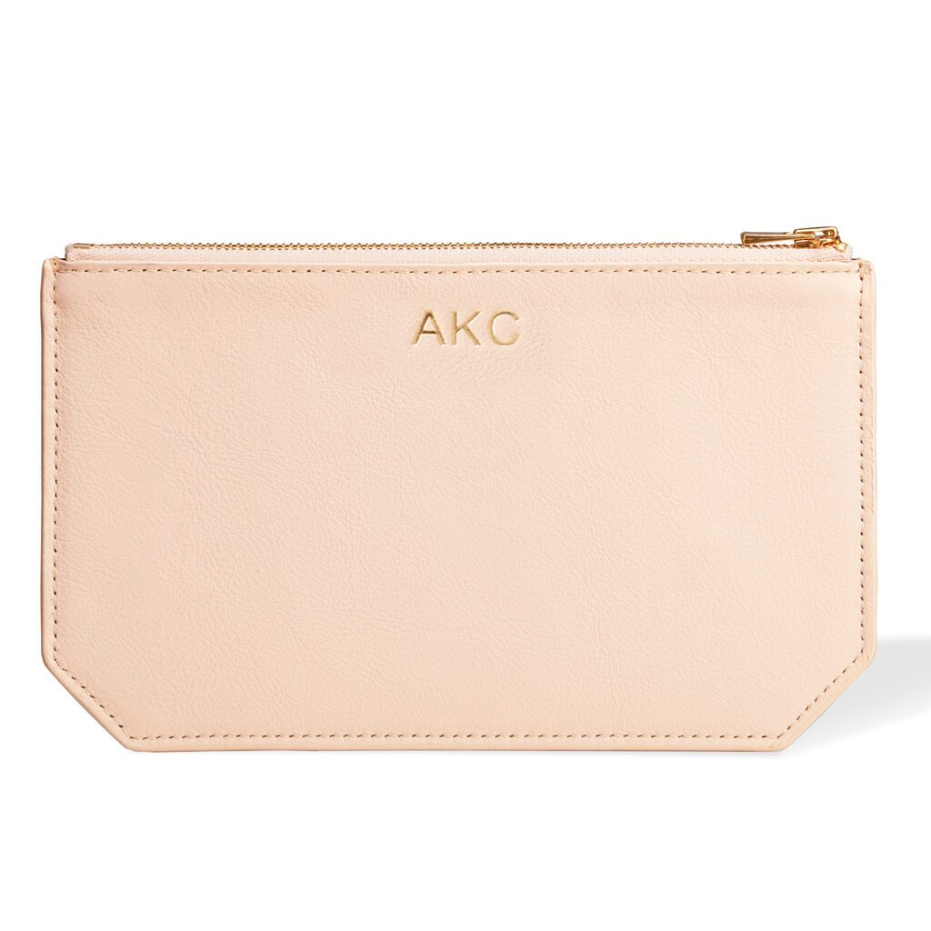 Personalized pink leather pouch DAPHNY RAES