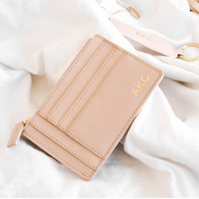 Personalized pink leather wallet with initials DAPHNY RAES