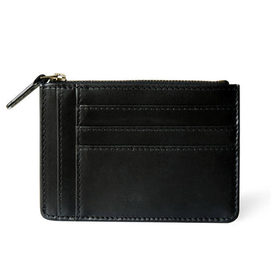 Slim smooth black leather women's zipper wallet with multiple card slots DAPHNY RAES