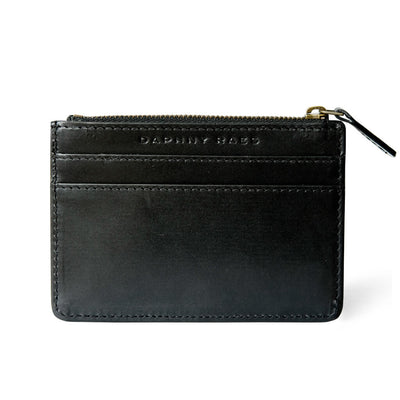 Smooth black leather zipper card holder for women with multiple card slots DAPHNY RAES