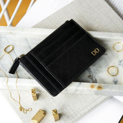 Personalized smooth black leather women's credit card holder with initials