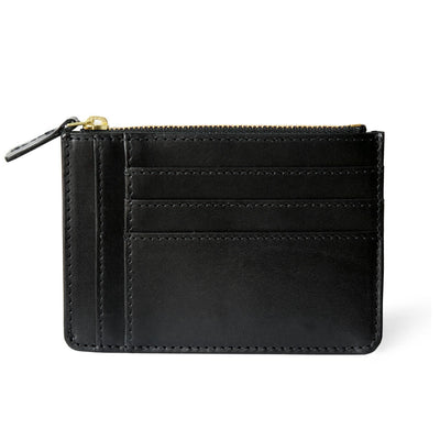Small smooth black leather women's zipper wallet with multiple card slots DAPHNY RAES