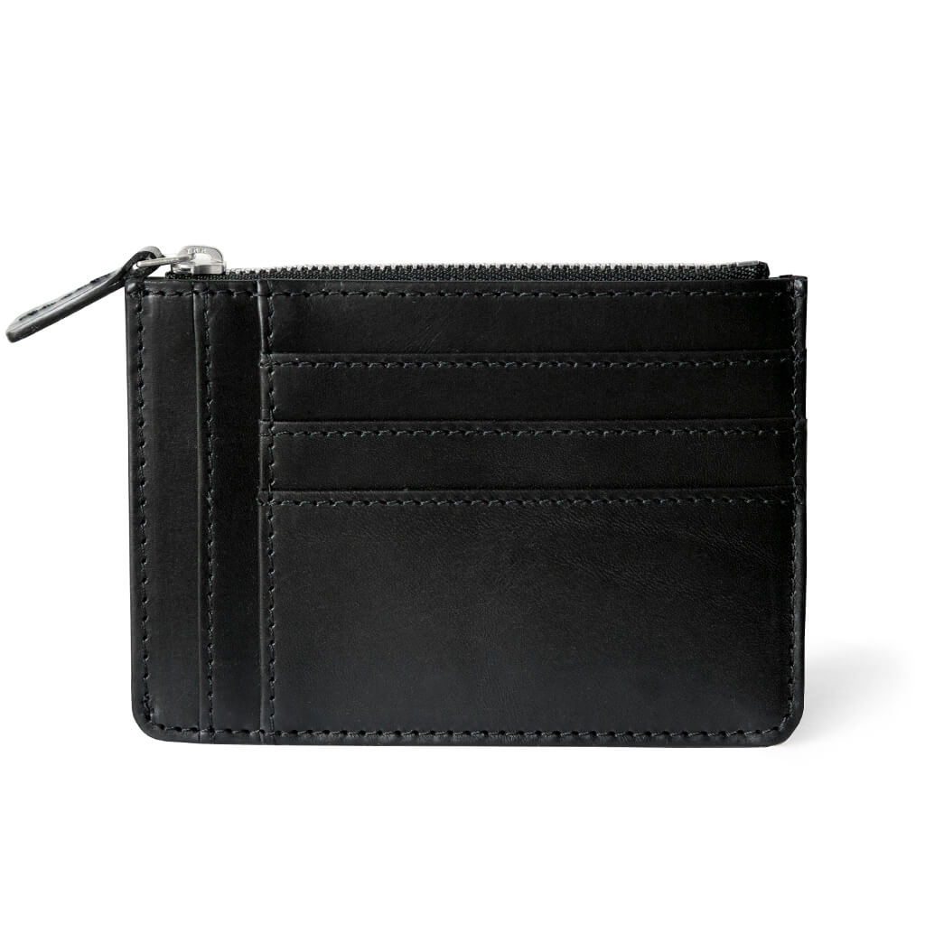 Slim black smooth leather women's zipper wallet with multiple card slots DAPHNY RAES