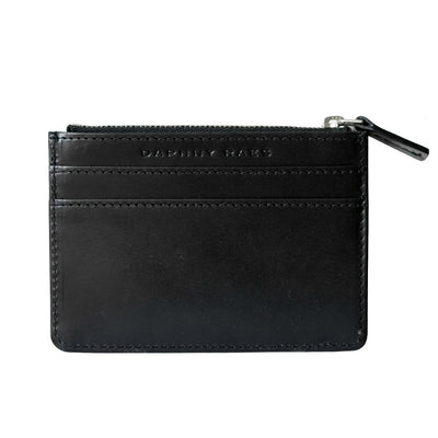 Small smooth black leather women's credit card holder with silver zipper DAPHNY RAES