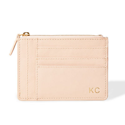 Personalized pink leather wallet with initials