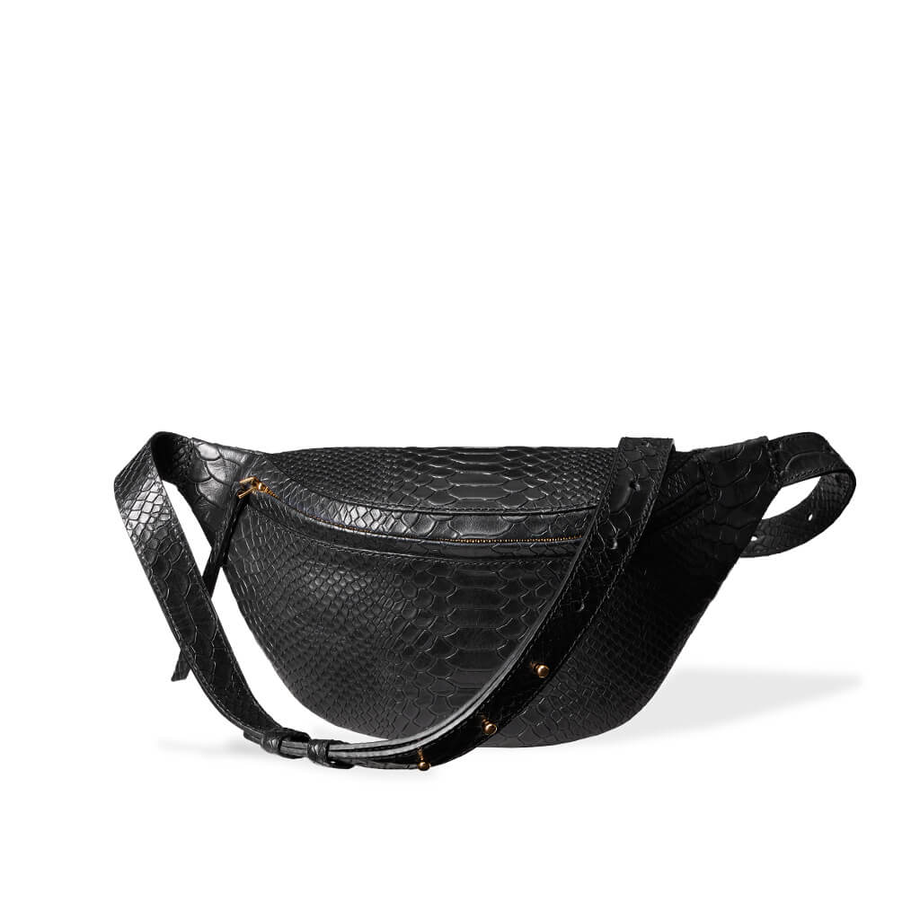 Small black leather fanny pack python print DAPHNY RAES