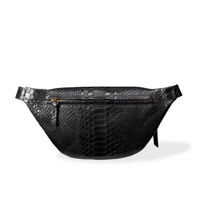 Zipper pocket in stylish black python print women's fanny pack DAPHNY RAES