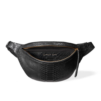 Soft lining in small black leather fanny pack python print DAPHNY RAES