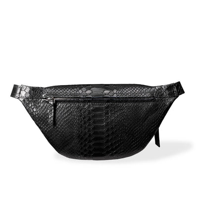 Zipper pocket of small leather women's fanny pack with snake print DAPHNY RAES