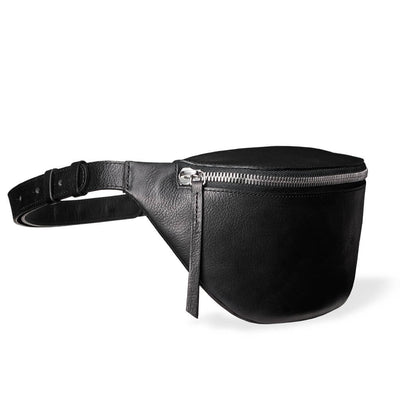 Small women's fanny pack black vegetable tanned leather DAPHNY RAES