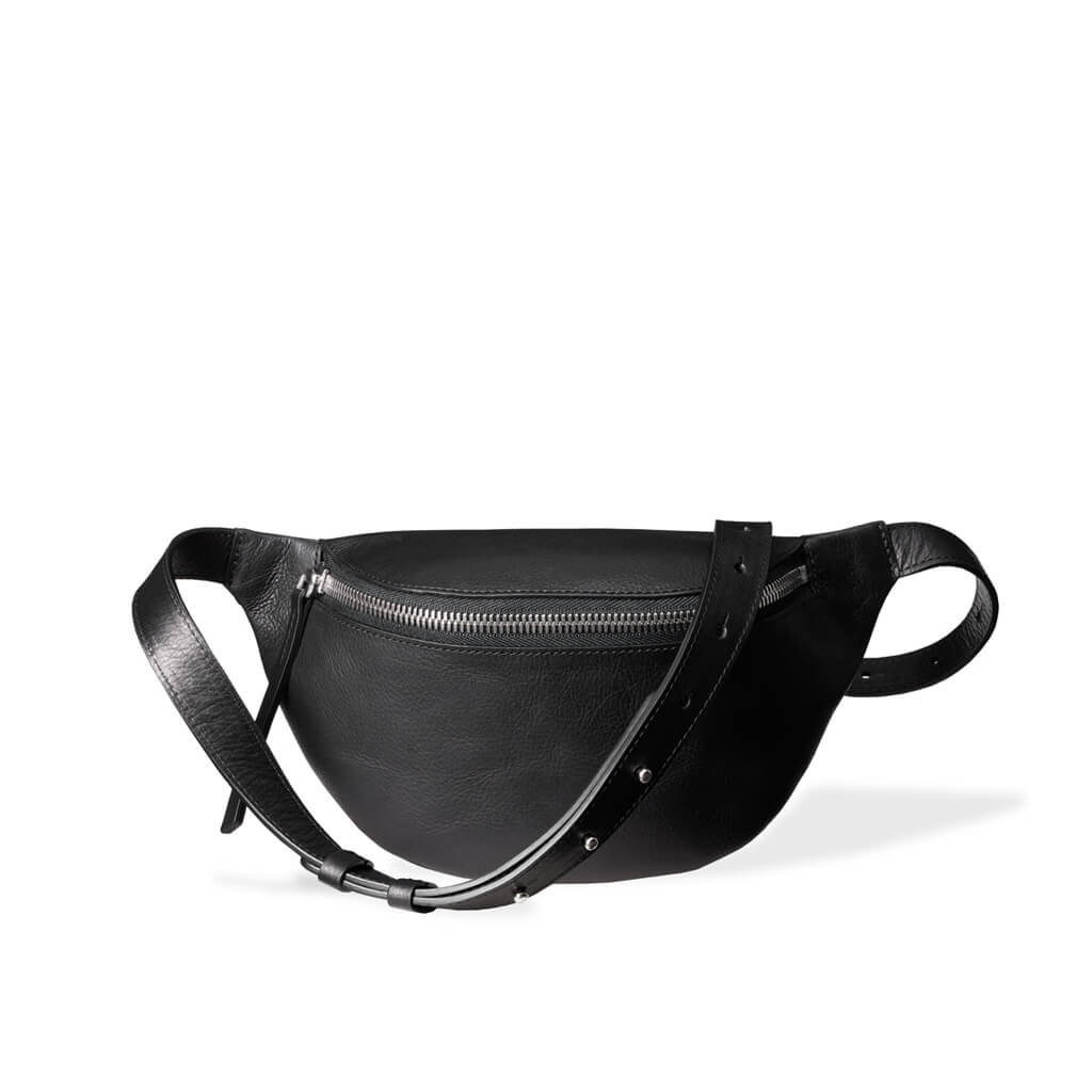 Stylish small Black leather fanny pack with chunky zipper DAPHNY RAES