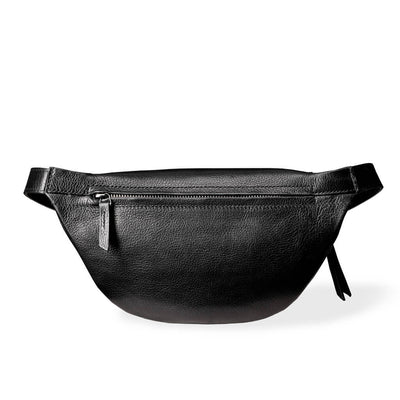 Zipper pocket in black leather women's fanny pack DAPHNY RAES