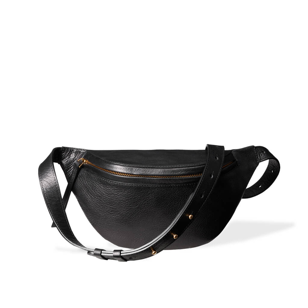 07382bb1900c Small luxury black vegetable tanned leather women's fanny pack DAPHNY RAES
