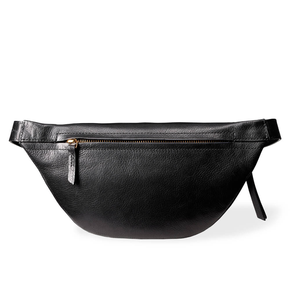 0aa949765fd Small Black Leather Women's Fanny Pack | DAPHNY RAES