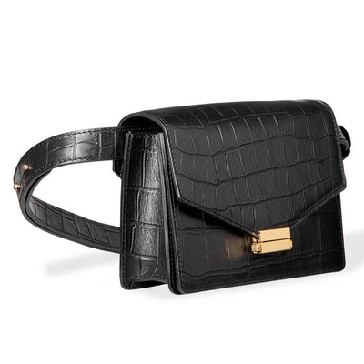 4 in 1 Black croco print leather fanny pack with gold lock
