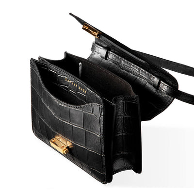 Inside compartments of 4 in 1 Black croco print leather mini bag with gold lock