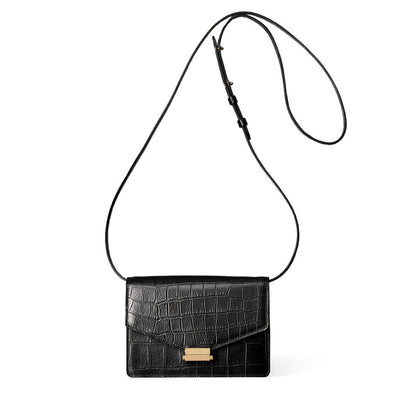 4 in 1 Black croco print leather mini bag with gold lock