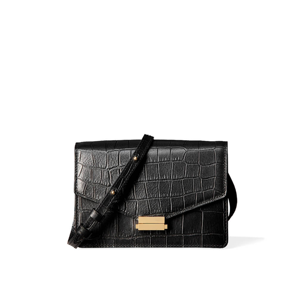 4-in-1 Mini bag 'Amy' black croco