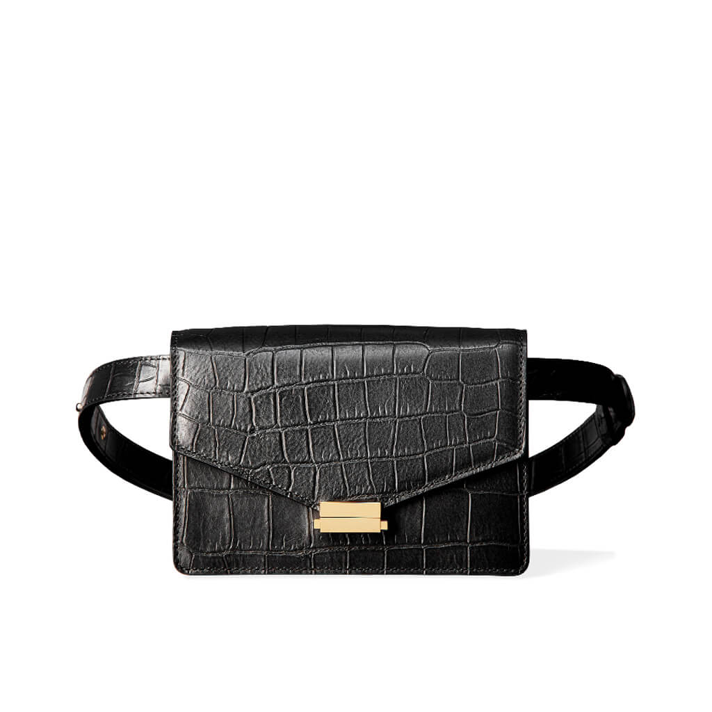 4-in-1 Fanny pack 'Amy' black croco