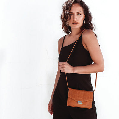 Cognac croco leather mini shoulder bag DAPHNY RAES