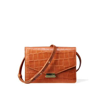4-in-1 cognac leather mini bag with crocodile print