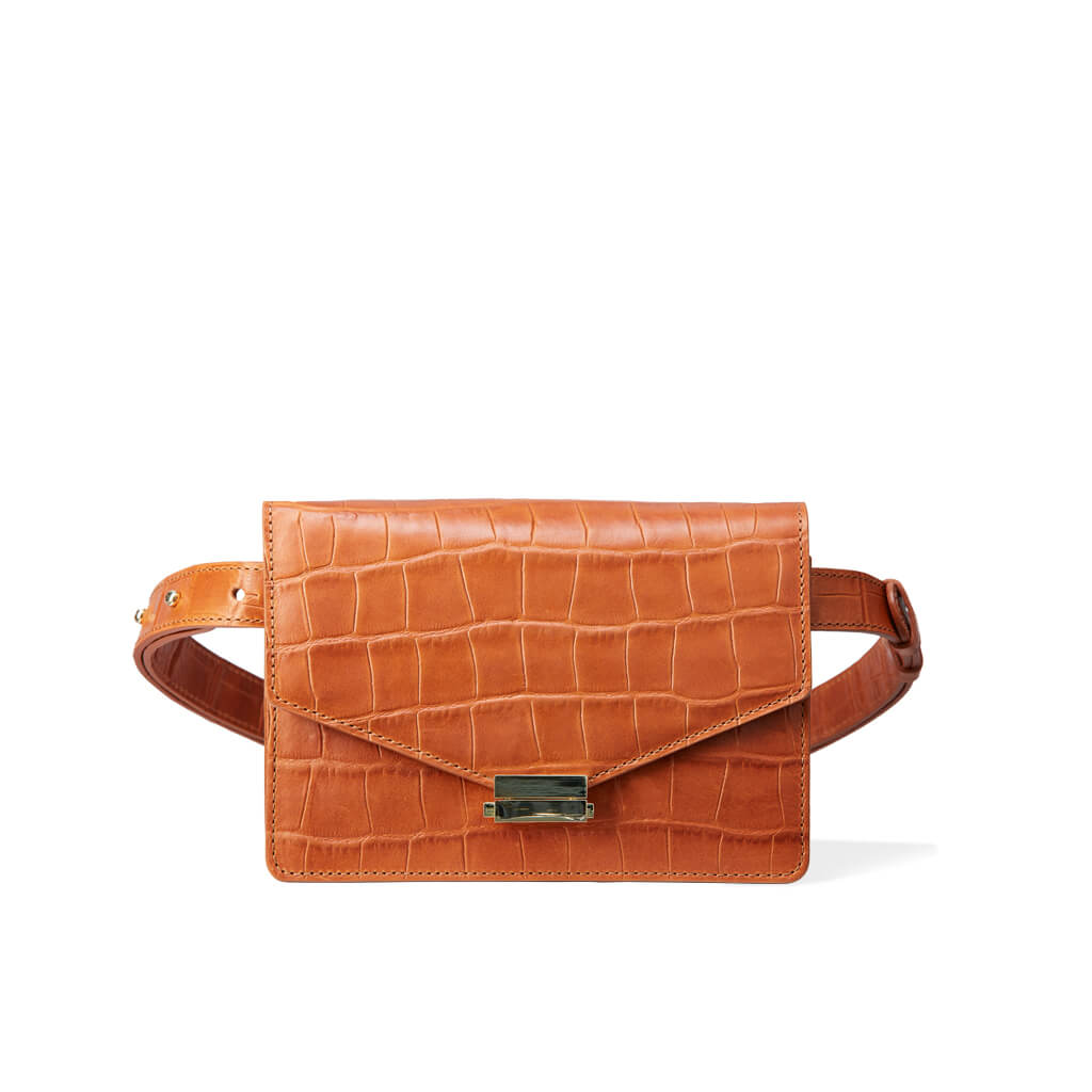 Cognac leather mini fanny pack with crocodile print