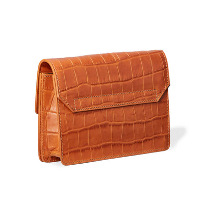 Cognac leather mini fanny pack with crocodile print back