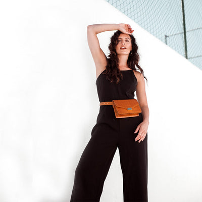 Cognac leather waist bag with crocodile print