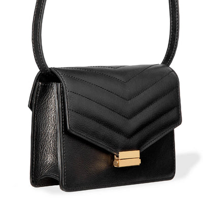 4 in 1 Black leather mini bag with stitched flap and gold lock with adjustable straps