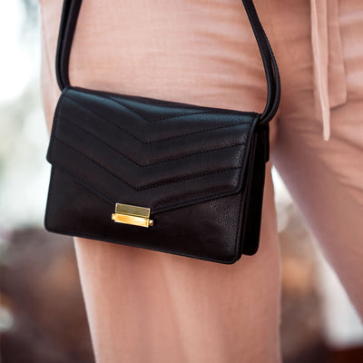 Black leather mini shoulder bag DAPHNY RAES