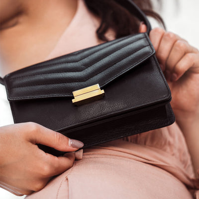 Black leather fanny pack with gold lock DAPHNY RAES
