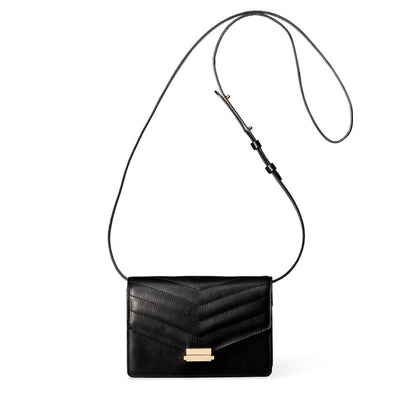 4 in 1 Black leather mini bag with stitched flap and gold lock