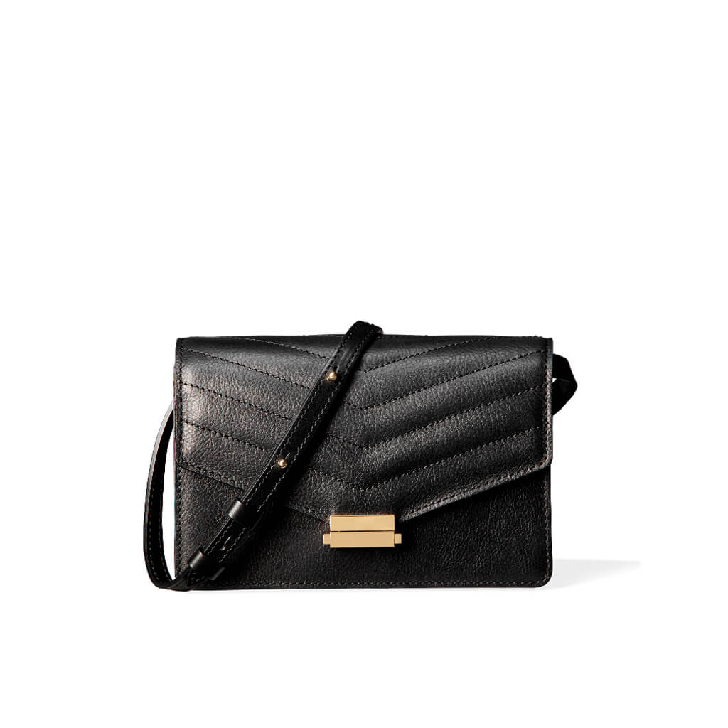 4-in-1 Mini bag 'Amy' black grained