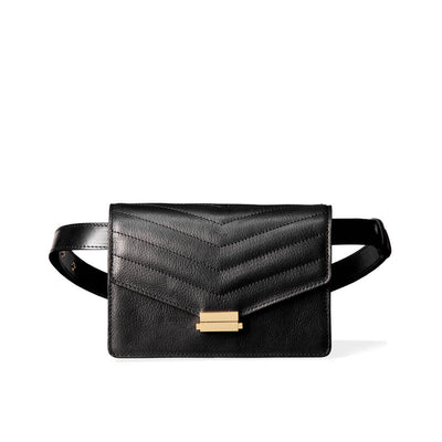 Black leather fanny pack with stitched flap and gold lock with adjustable straps
