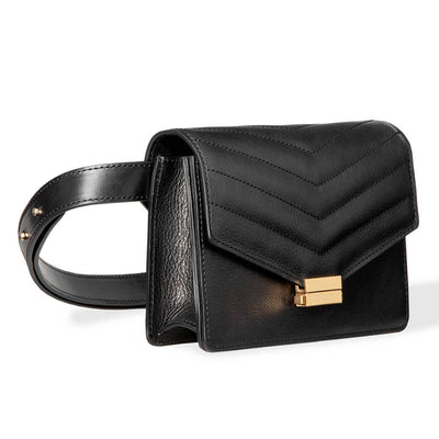 4 in 1 Black leather fanny pack with stitched flap and gold lock