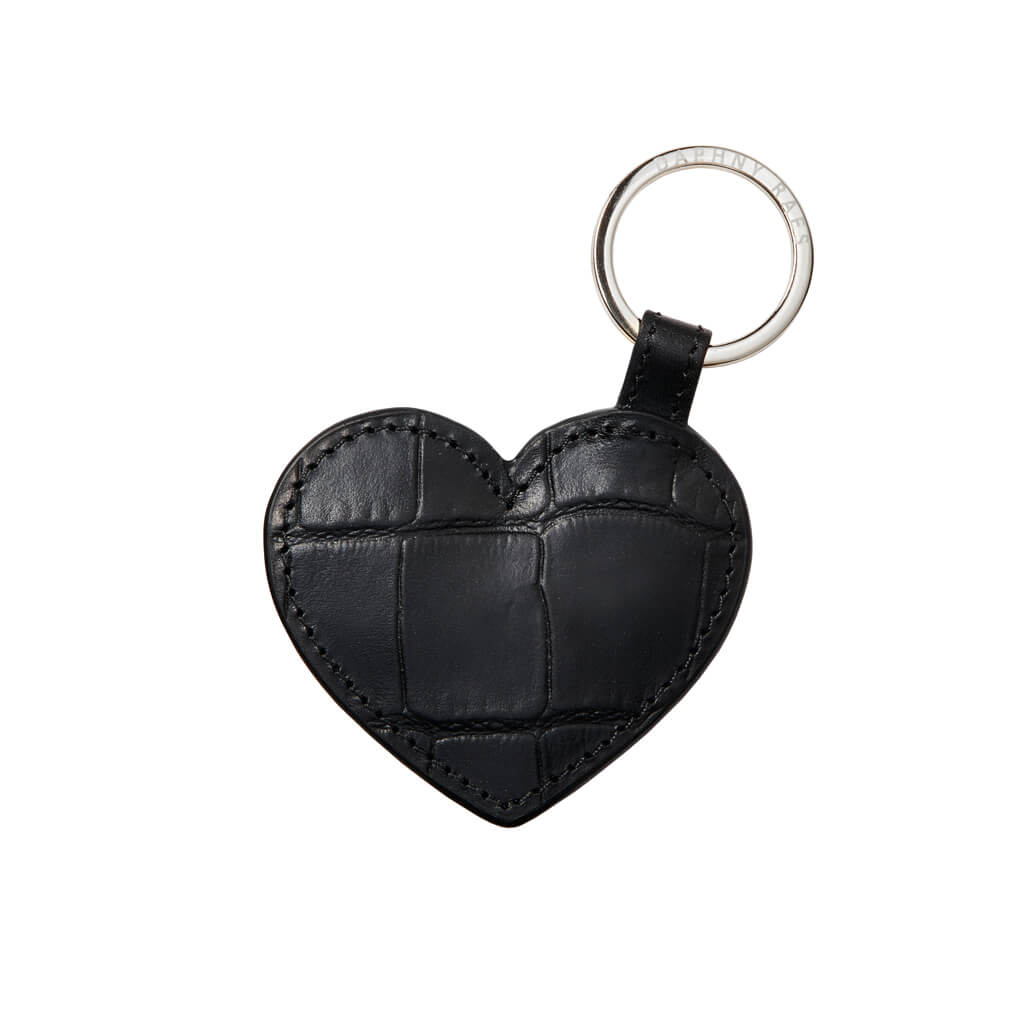 Keychain 'Love' black croco