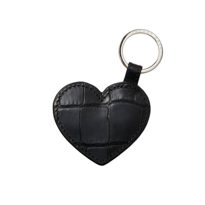 black croco leather heart key ring