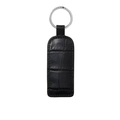 Black leather croco keychain with logo ring